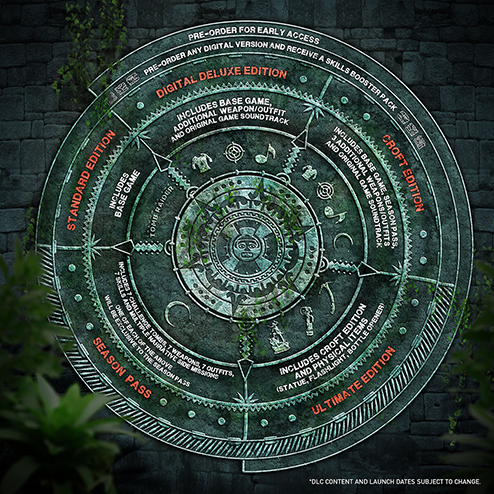 Maya calendar graphic detailing the different editions of Shadow of the Tomb Raider