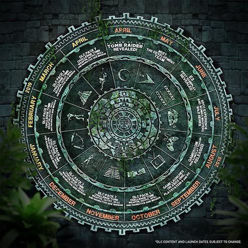 Maya calendar graphic detailing development milestones and DLC drop dates