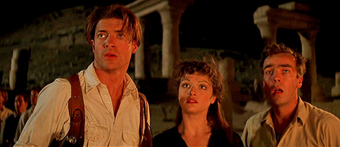 The Mummy cast members Brendan Fraser, Rachel Weisz, and John Hannah