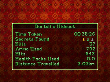 Tomb Raider II level stats screen