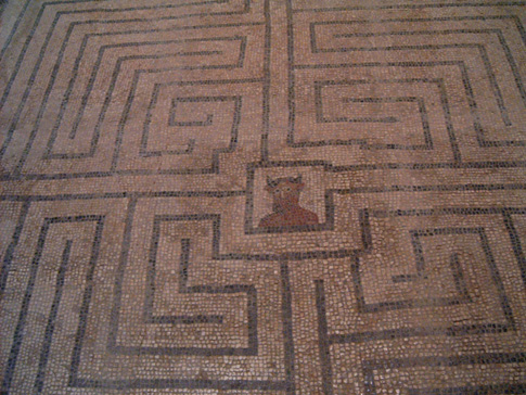 Minotaur in Labyrinth—a Roman mosaic at Conímbriga, Portugal.